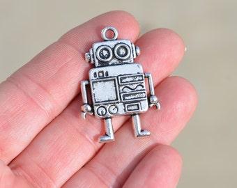5  Silver Robot Charms SC2405