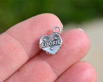 10 Silver Heart Shaped Cookie  Charms SC2455
