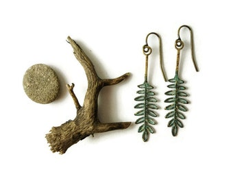 Fern Earrings, Nature Earrings, Green Leaf Jewelry, Fern Dangles, Woodland, Gardener, Naturalist