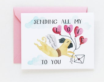 Valentine Card, Anniversary, Love Card - Sending all my Love Card