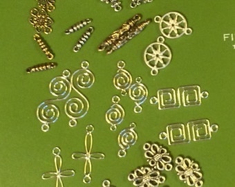 Assorted Connectors  16 different designs in pairs + - 33 pc