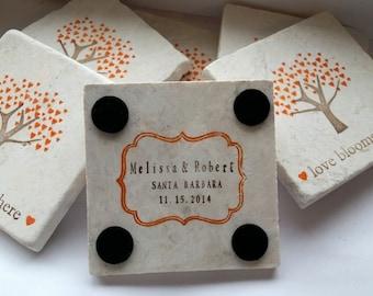 Personalized Orange Heart Tree Coaster Favors - Fall Wedding Decor - Set of 25