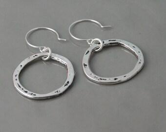 Silver hoop earrings organic silver hoop earrings