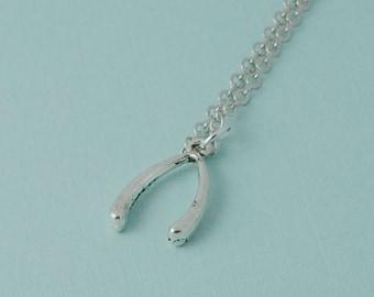 Wish bone necklace, silver wishbone necklace, wish necklace