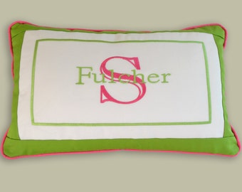 embroidered monogram lumbar pillow white lime green hot pink accents any color any fabric nursery living room