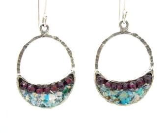 Sterling silver earrings with roman glass & garnet  beads