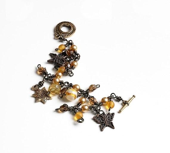 Boho Charm Bracelet, Earthy Golden Brown Beaded Charm Bracelet, Dangle Bracelet, Boho Chic Bracelet