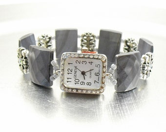 Beaded Watch - Grey Shell Stretchy Watch with Rhinestone Studded Watch Face
