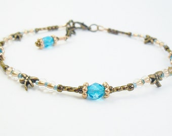Beaded Ankle Bracelet - Copper Dragonfly and Turquoise Crystal Glass Anklet