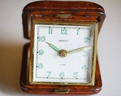 vintage travel alarm clock in leather case, Bentley made in Germany
