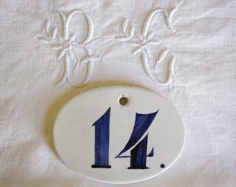 French antique ceramic number 14, originally used in winery to label wine barrels or cases