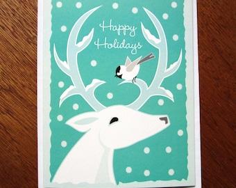 White Deer, Chickadee Holiday card