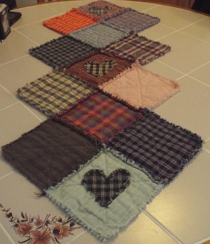 Primitive table runner rag quilted dresser quilt applique for Table runner quilt design