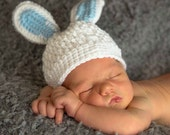 Easter Bunny Baby Hat, Newborn Bunny Hat, 0 to 3 Month Easter Hat