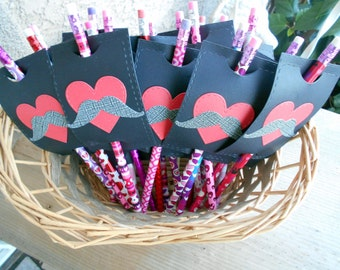 Valentine's day Pencils- Kids Valentine's-Pencil Favors-Classroom Valentine Favors-Mustache-Hearts