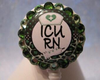ICU RN Nurse Retractable ID Badge Reel Leopard Print using Swarovski Crystals