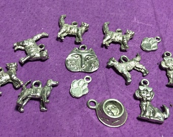 Cats and Dogs Pewter Charms Mixture