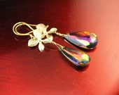 The Natalia Large Swarovski Vitrail Teardrop Crystal Earrings with Orchid Blossoms in Gold