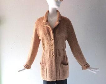 Philosophy di Alberta Ferretti Wool Knit Cardigan Sweater - size M to L - 6 8 10 12 - Almond Button Front Chunky Knit - Winter Chic -