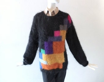 Anne Lester Hand Knit Color Block Mohair Sweater - Size M to L - Black Pink Purple Curry - 1980s Boyfriend Sweater - British Designer Chic