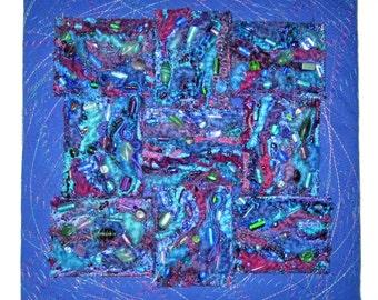 "Jeweled Yarns Wall Hanging, 12"" x 12"""