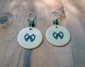 Bakelite Poker Chip Earrings Engraved Monogram Jade Button