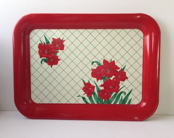 Red Floral Metal Tray