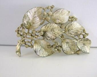 SALE- Vintage Lisner gold  autumn leaf brooch