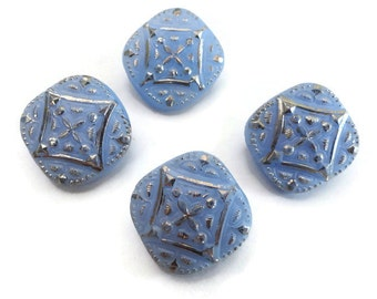 Periwinkle Glass Vintage Buttons - 4 Antique 1940s Blue Silver 3/4 inch 19mm for Jewelry Beads Sewing Knitting
