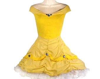 Belle Costume // Princess Belle Dress with Petticoat and Gloves MADE TO ORDER