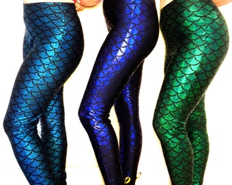 Mermaid Leggings Dragon Fishscale Halloween Costume You Choose Color