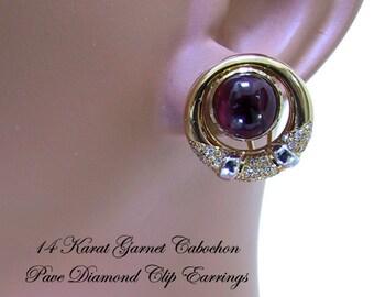 14K Cabochon Garnet Diamond Earrings Pavé Diamonds Vintage 1980s Clip Ons
