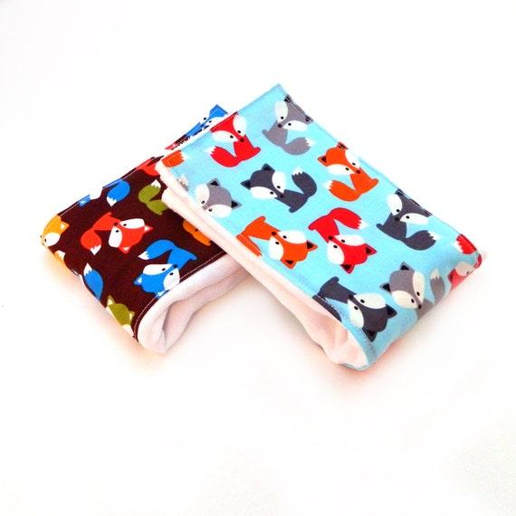 Fox Burp Cloths Boy, Blue Gray Orange Brown Cotton Burp Cloth //set of 2 // Animal Boy Burp Cloth / Baby Shower Gift / Blue Burp Cloth
