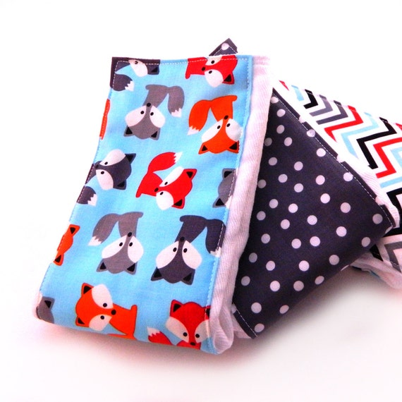 Fox Burp Cloths Boy- Dots Chevron Gray blue Red - Set of 3 // Cotton Diaper Burp Cloths // Baby Shower Gift // New Baby Gift