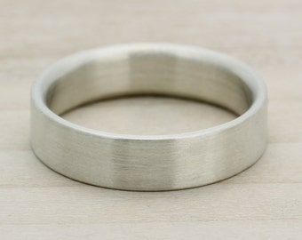 Men's Engagement Band 5mm x 1.5mm - Bespoke recycled eco-friendly sterling silver wedding ring - Brushed Finish