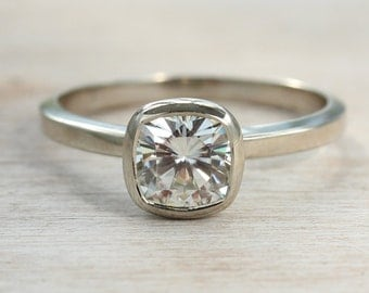6mm Cushion Cut Moissanite Engagement Ring - Unique Solitaire Engagement Ring - Available in Palladium or Gold with a Matte or Shiny Finish