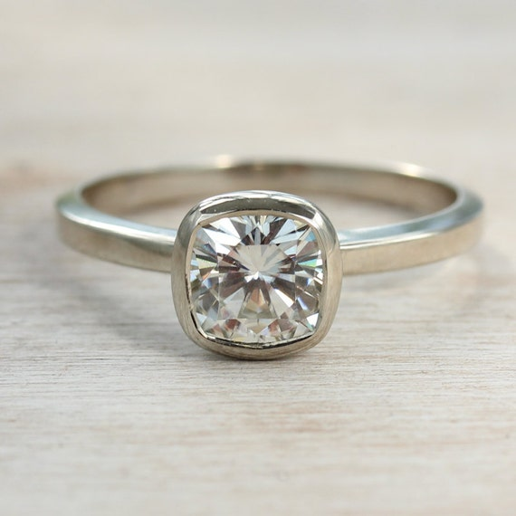 6mm cushion cut moissanite engagement ring unique solitaire