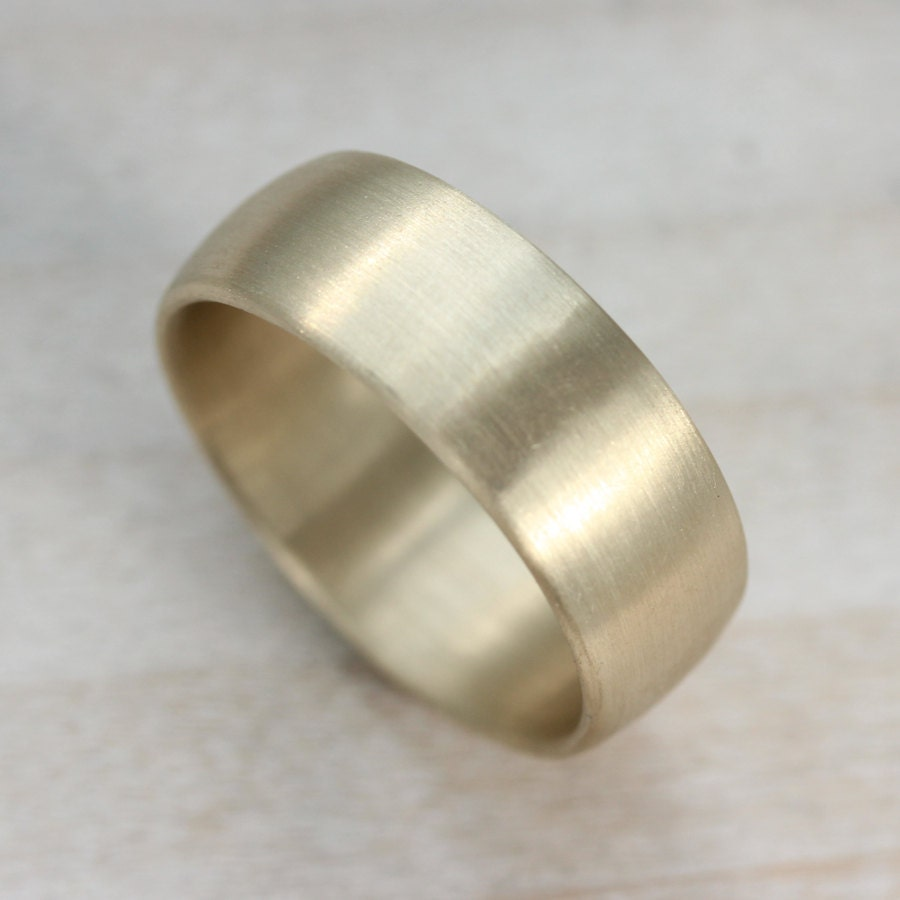 8mm Hand Carved Classic Mens Wedding Band Smooth