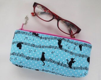 Kawaii Cat & Music Eyeglass Case / Pen Case / Zipper Pouch
