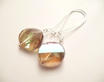 Smokey Swarovski Round Crystal Wedding Earrings