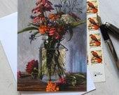 Floral Fine Art Blank Note Card with Summer Flowers by Elizabeth Floyd