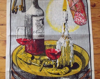 Vintage Souvenir Wine Connoiseur Tea Towel 100% Linen 17 x 28 inches