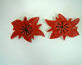 Red Poinsettia Mosaic Tile Flowers