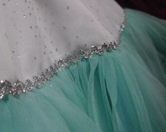 Frozen Wonderland Teal Pettiskirt REVERSIBLE! Girl's size 6 to 10