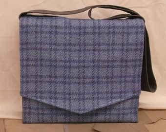 Faded Blue Plaid Large Messenger Bag
