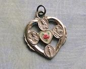 Vintage Sterling Enamel Religious Medal, Saint Christopher Medal, Religious Pendant