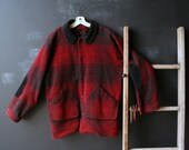 Plaid Wool Coat Vintage Hunting or Barn Coat Red Black Woolrich Mens Large From Nowvintage on Etsy