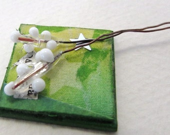 Vintage Venetian Glass Bead Flower on Wire Clear White vgb0836 (2)