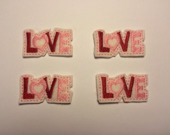 LOVE Valentine's Day Pink Red Embroidered Felt Applique