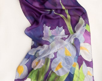 Hand painted silk scarf- The Lilac Irises. Purple scarf. Floral scarves. Spring scarves. Mothers Day gift/ Unique handmade gifts/ For her